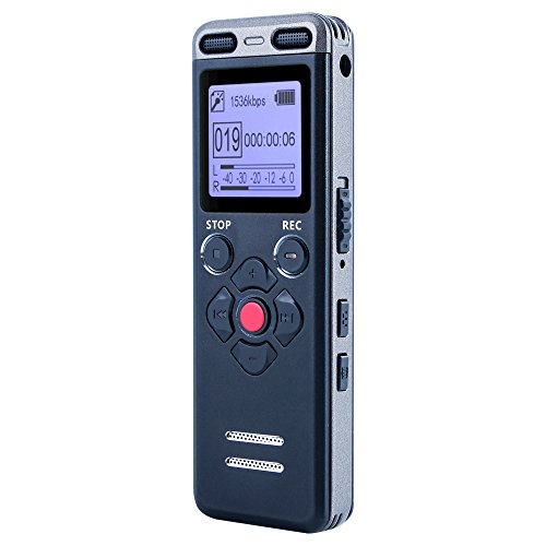 BAVATI V15 8GB Digital Audio Voice Activated Sound Recorder - Windows & Mac Compatible - USB Rechargeable Tape Recording Device Best for Lectures, Meetings, Interviews, Spying, Hidden recording.