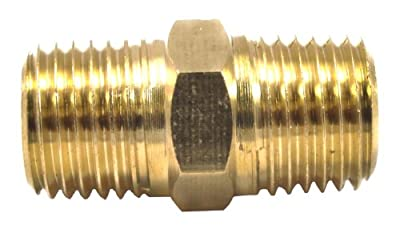 Forney 75448 Brass Fitting, Hose Coupling, 1/4-Inch Male NPT To 1/4-Inch Male NPT, Brass