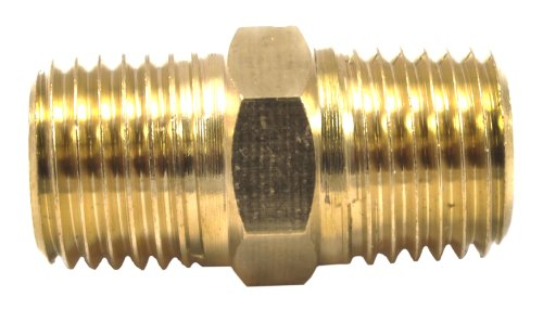 Forney 75448 Brass Fitting, Hose Coupling, 1/4-Inch Male NPT To 1/4-Inch Male NPT, Brass (1/4 Male Coupling)