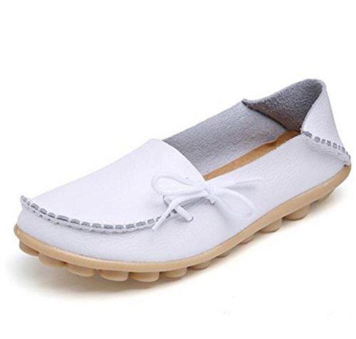 Doris Batchelor Women Mother Loafers Soft Leisure Flats Driving Footwear Size 35-44 White 6 (Capris Bean Ll)