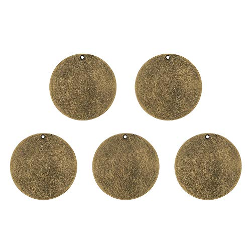 Pandahall 5pcs Antique Bronze Brass Blank Stamping Tag Pendants Metal Alphabet Letter Stamps Tags for Jewelry Necklace Makings 1.34 inch Flat Round