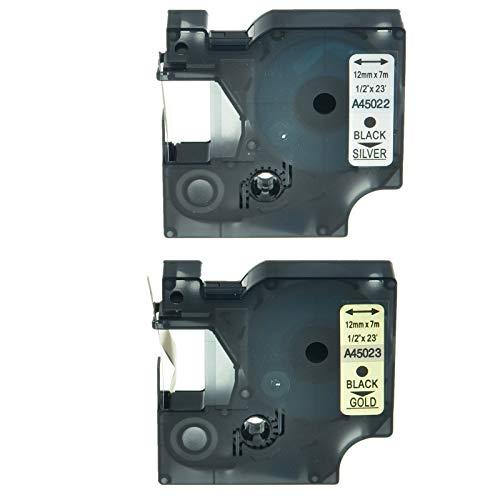 FidgetFidget 2PK 45022 45023 Label Tape for DYMO D1 Labelmanager 160 12mm 1/2