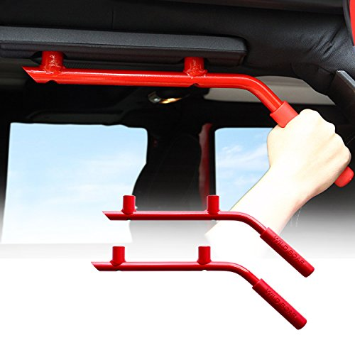 Steel Jeep Rear Driver (ICARS Red Solid Steel Rear Grab Handle for 2007-2017 Jeep JK Wrangler Unlimited Accessories 4 Door - 1 Pair)