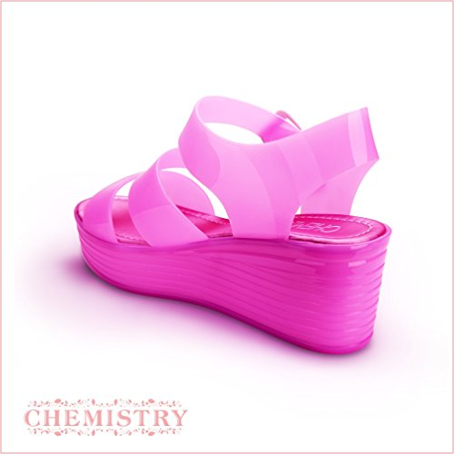 Chemistry Women's Jelly Platform Wedge Heel Sandals Adjustable Strap Upper Low Top Shoes,Pink,10 B(M) US by Chemistry (Image #1)