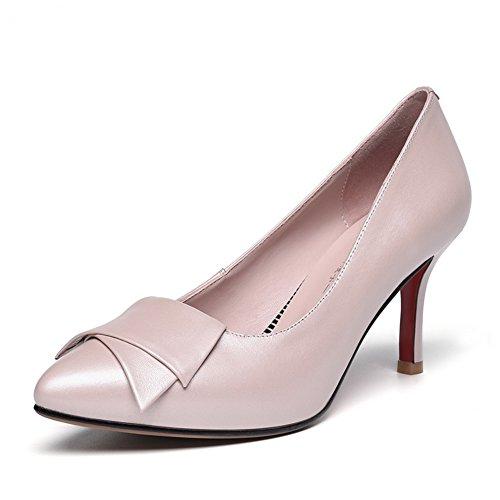 Bout Tige À Pompes Basse Aiguilles Rose Pointes Cuir Chaussures Talons Adeesu Womens Pointu En pX0If