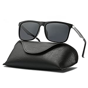 Ray Parker Men Retro Square Polarized Wayfarer Aluminum Sunglasses RP306 with Black Frame/Grey Lenses