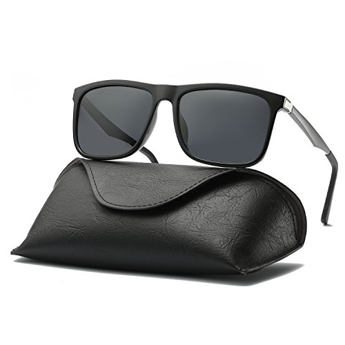 Ray Parker Men Retro Square Polarized Wayfarer Aluminum Sunglasses RP306 with Black Frame/Grey - Sunglasses For Looking Guys Best