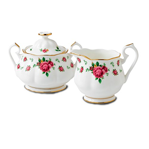 (Royal Albert New Country Roses White Fine Bone China - Sugar & Creamer Set)