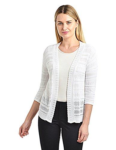 Knit Minded Womens Pointelle ¾ Sleeve Novelty Cardigan White 3X ()
