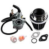 PZ19 Carburetor for Taotao ATV Cable Choke Carb Gaskets with 35mm Motorcycle Air Filter Fuel Filters for Chinese Made 125cc 50cc 70cc 90cc 100cc 110cc Dirt Bike Scooter Moped Carburetor Filter Go Kart