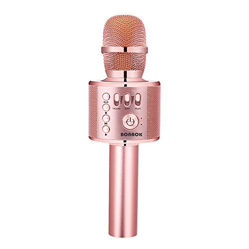 BONAOK Wireless Bluetooth Karaoke Microphone,3-in-1 Portable Handheld karaoke Mic Speaker Machine Home Party Birthday Graduation Gift for iPhone/Android/iPad/Sony/PC/All Smartphone(Q37 Rose Gold Plus) ()