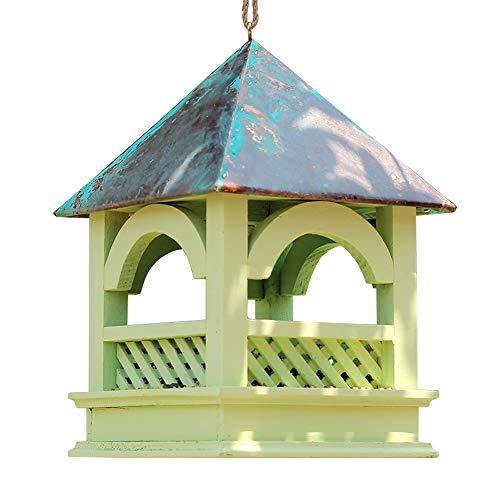 Sungmor Hanging Wild Bird Feeder | Premium Wooden Bird Garden Bird Feeder | Wild Bird Wooden Seed Feeding Station | Wooden Bird Feed Table with Purple Copper Roof