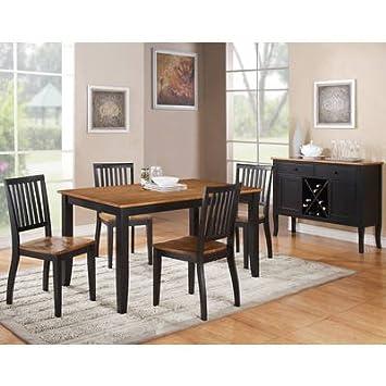 Steve Silver Candice 6 Piece Rectangular Dining Room Set In Black U0026 Oak