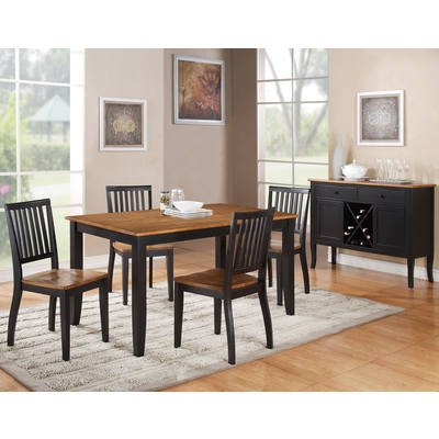 Exceptionnel Steve Silver Candice 6 Piece Rectangular Dining Room Set In Black U0026 Oak