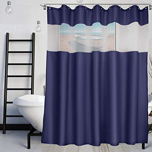 VCVCOO Mesh Fabric Strip Shower Curtain Let More Light, Soft Touch Polyester Navy Blue Shower Curtains for Bathroom, Fashion Bathroom Curtain 72x72 Inch Washable