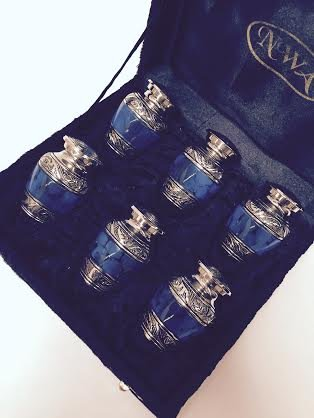 NWA Cremation Urn, Keepsake Urns, Blue and Silver finish, set of 6 with velvet case by NWA