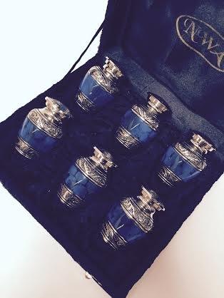 NWA Cremation Urn, Keepsake Urns, Blue and Silver finish, set of 6 with velvet case