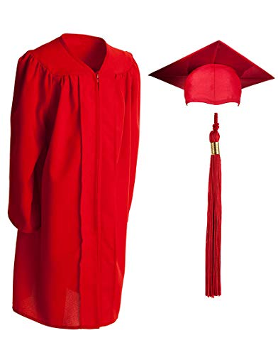 Child Matte Graduation Gown, Cap and Tassel Set - Graduation Robe For Kindergarten, Pre-K and Daycare, Red Size 27 (Height 3.2 to 3.5 inches tall)]()