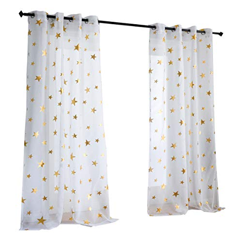 Kotile Girls Bedroom Curtain for Starry Night Twinkle Voile Sheer Curtains, 2 Panels Grommet Top Gold Star Print Glitter Curtain Panels Draperies Perfect for Kids/Nursery, W52 x L84 Inches