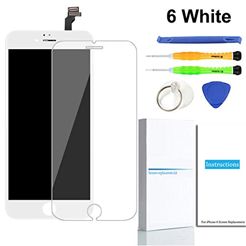 for iPhone 6 Screen Replacement (White), LCD Touch Screen Digitizer Display Frame Assembly Kit with Repair Tools + Glass Screen Protector, iPhone 6 4.7 Inch Only from QIANZEY666