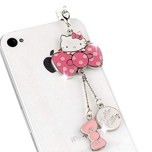 New Cell Phone Charm - IP447-B New Hot Pink Bow Hello Kitty Cat Anti Dust Plug Cover Charm for iPhone Android