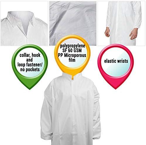 4 Snaps White Polypropylene 25G Lab Coats No Pocket Size: X-Large 150 Pieces Elastic Wrists
