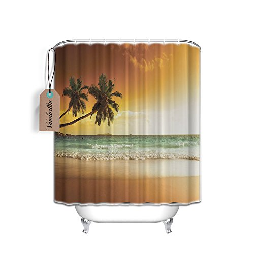 Extra Long 72x84 Inch Ocean Shower Curtain,Palms Sunset S...