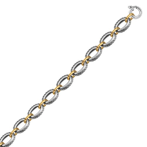 18K Yellow Gold and Sterling Silver Chain Necklace in a Cable Motif (18k Motif Necklace)