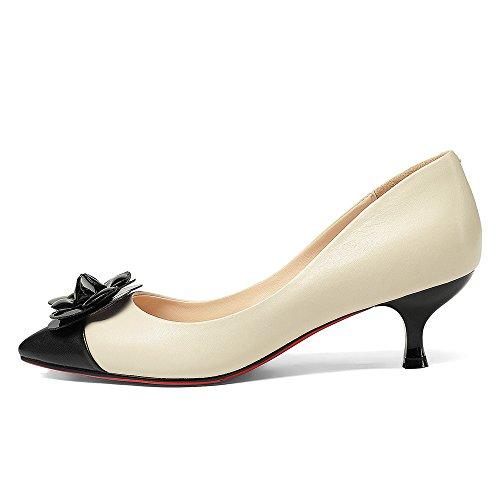 Neuf Sept En Cuir Véritable Femmes Bout Pointu Talon Aiguille Deux Tons À La Main Fleurs Mignons Pompes Chaussures Beige