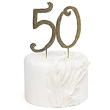 Rose Gold Rhinestone Monogram Number 50 Cake Toppers Happy 50th Birthday Or Anniversary By