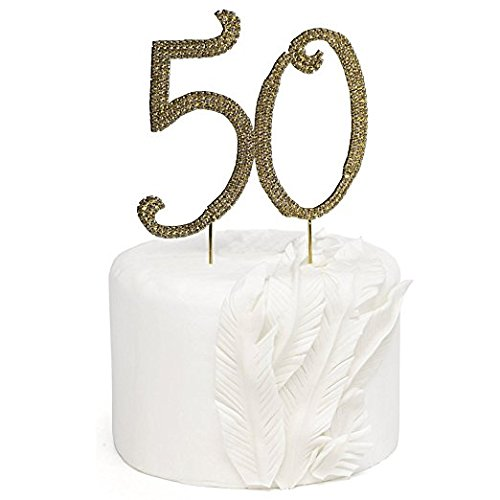 Rose Gold Rhinestone Monogram Number 50 Cake Toppers Happy 50th Birthday or Anniversary Cake Toppers by Bilipala (50th Anniversary Metal)
