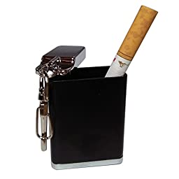 Honoro Metal Portable Ashtray,Outdoor Cigarettes Ashtray with Lid,Keychain,Rectangular Big Size Black