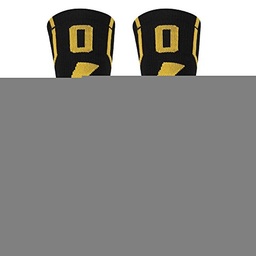 KitNSox Adult Youth Mid Calf Cushion Team Sports Number Socks for Basketball Football Baseball Gold/Black – Sports Center Store