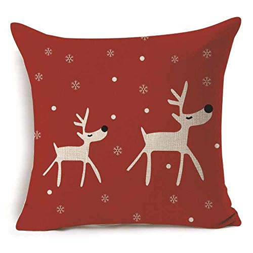 Amazon.com: 1Pcs 4545cm Deer Christmas Cotton Linen Throw ...