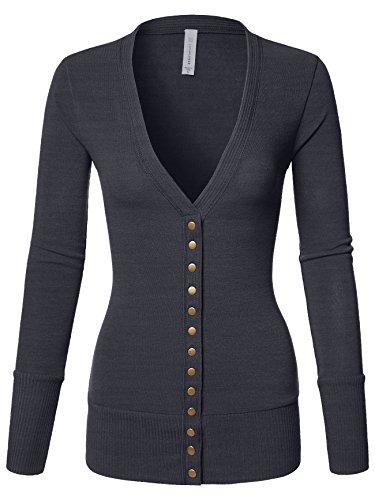 Luna Flower Women's V-Neck Snap Button Long Sleeve Soft Basic Knit Snap Cardigan Sweater Charcoal Large (GCDW027) by Luna Flower