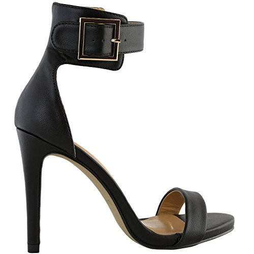 DailyShoes Womens Stiletto Heels Open Toe Ankle Buckle Strap Platform High Heel Evening Party Dress Casual Sandal Shoes Black Pu Leather OzxCvvlqLB