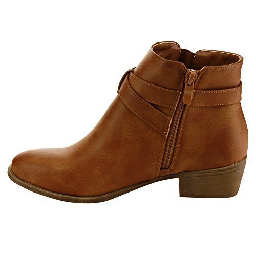 Top Moda Women's Buckle Strap Low Chunky Ankle Booties Tan 7