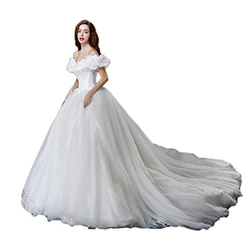 Vimans® Long Beaded Ivory Princess Cinderella Wedding Dresses for Women, (Cinderella Wedding Dress)