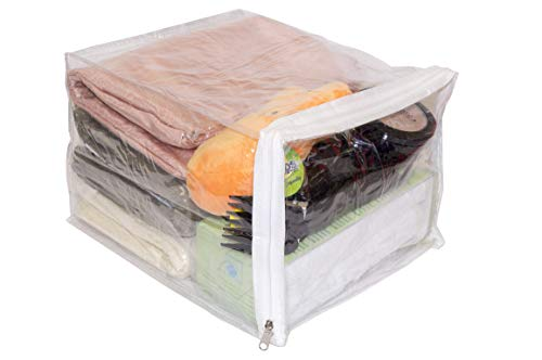 Clear Vinyl Zippered Storage Bags 9 x 11 x 7 Inch 10-Pack