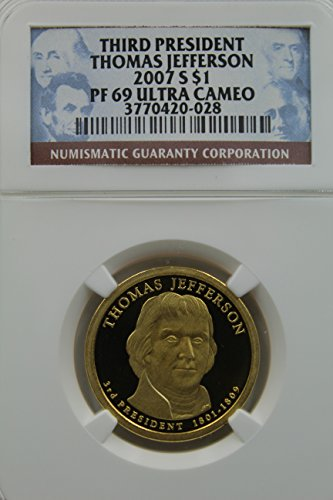 2007 S Presidential Dollar Thomas Jefferson, Third President Ultra Cameo $1 PF-69 NGC
