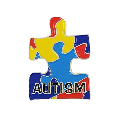 "Puzzle Piece Autism Awareness Enamel Lapel Pin Small Size 1"" Height"