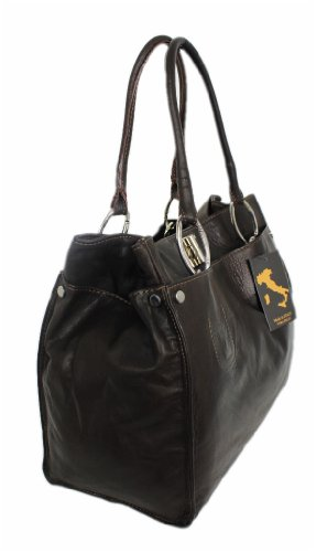 Borsa Italy Mittel A Spalla Marrone Leatherworld Donna Rq5dYwq
