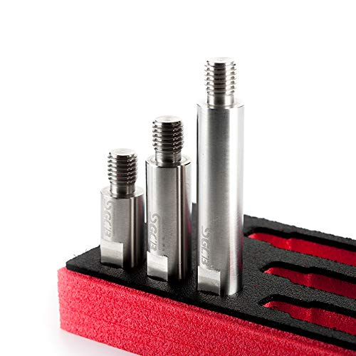 SGCB Ultra Stainless Steel Rotary Polisher Extension Shaft Set of 3, M14 Thread 70mm 90mm 120mm Interconnectable High Hardness for Backing Plate Car Rotary Polisher Car Auto Caring Accessories Tool by SGCB (Image #2)