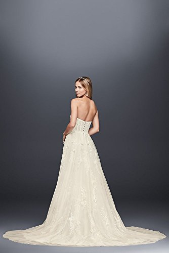 Trailing Capelet Floral Style Wedding Bridal Lace Gown David's Ivory MS251186 TqawYE5n