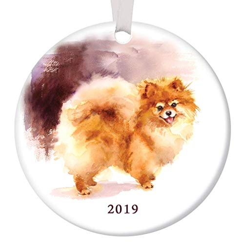 """Pomeranian Christmas Ornament 2019 Pretty Watercolor Pom Breed Ceramic Keepsake Present for Dog Lover Adopted Family Pet Shelter Rescued Pooch 3"""" Flat Porcelain w White Ribbon & Free Gift Box OR00241"""