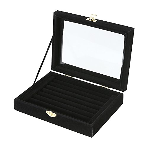 Jocestyle Velvet Glass Earrings Ear Studs Display Box Jewelry Organizer Holder Jewelry Storage Case (Black)