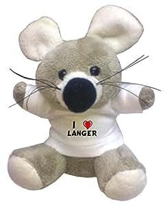 Shopzeus Llavero de ratoncito de peluche con Amo Langer en la camiseta (nombre de pila/apellido/apodo)