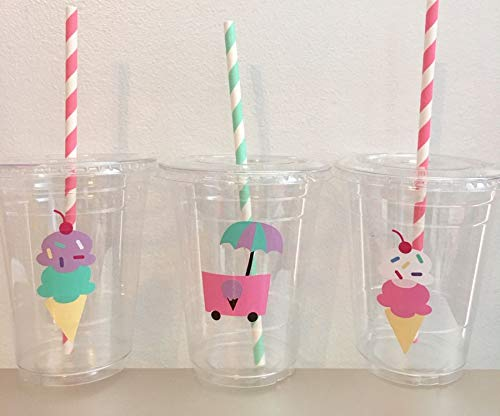 ICE CREAM Birthday Cone and Cart DISPOSABLE Party CUPS Set of 12 WITH Lids and Straws