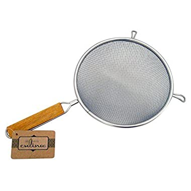 Culina 8  Double Mesh Strainer, Stainless Steel, Wooden Handle