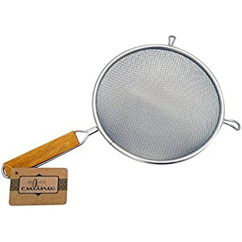 "Culina 8"" Double Mesh Strainer, Stainless Steel, Wooden Handle"